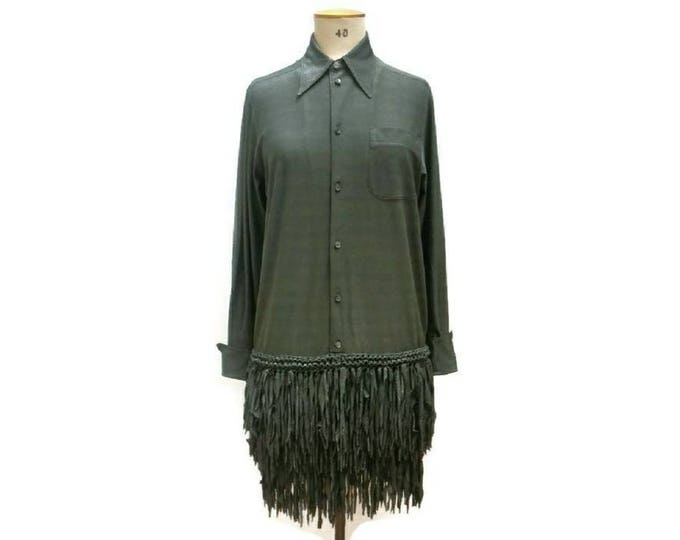 JEAN PAUL GAULTIER vintage a/w 1993 'Chic Rabbis' collection shimmering sage green fringe dress