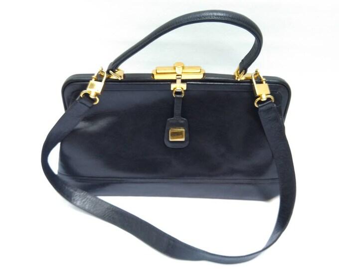 BALLY vintage 70s dark blue leather frame bag