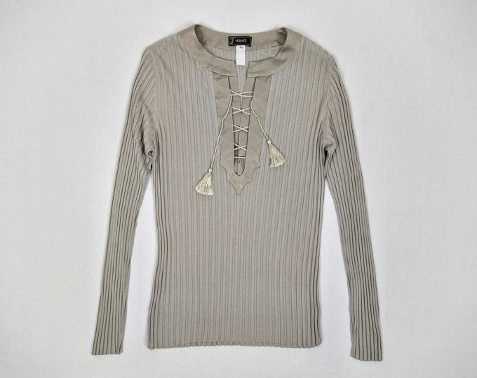 VERSACE pre-owned men's mushroom rib knit lace-up sweater