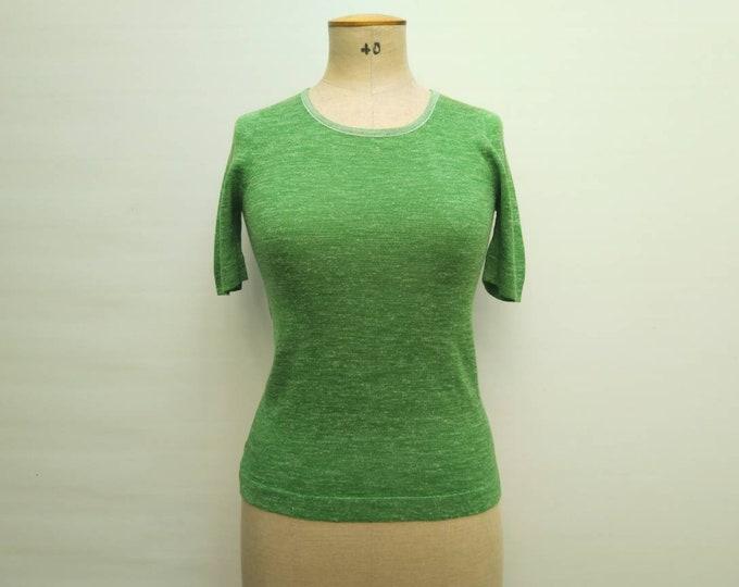 HERMES vintage 70s freckled green knit top