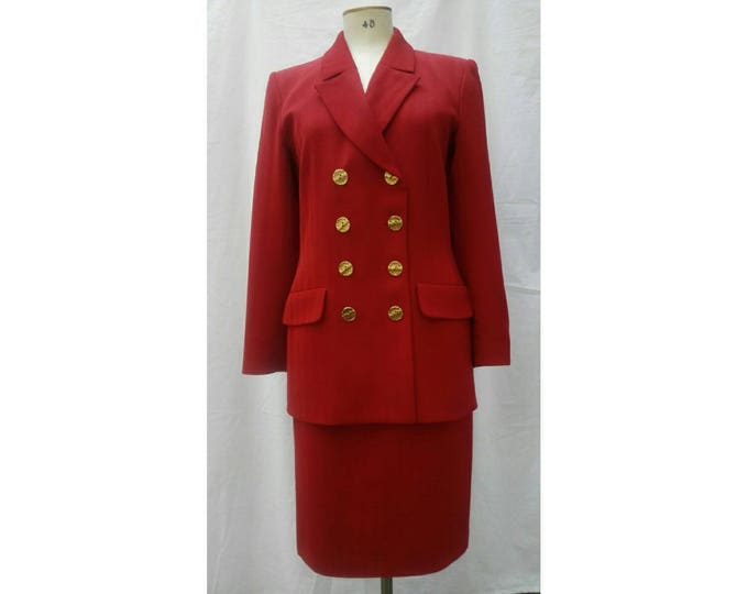 YVES SAINT LAURENT vintage 80s cherry red double breasted skirt suit