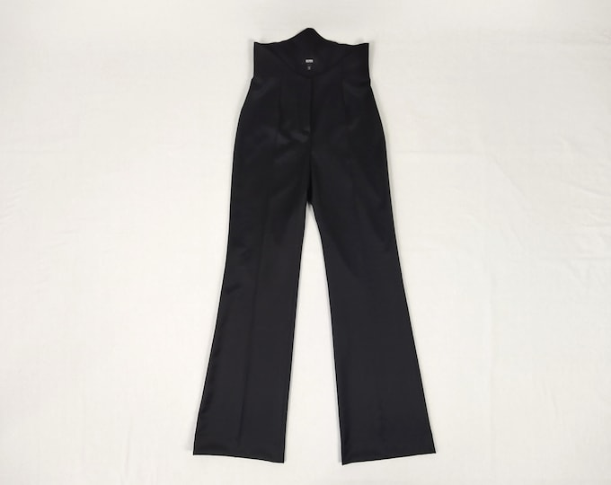 BOSS pre-owned high corset waist wide leg black wool pants