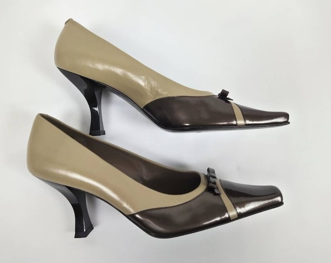 BALENCIAGA vintage two tone leather pumps - unworn