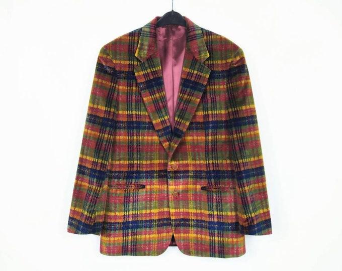 MISSONI UOMO vintage 90s men's multicolor check velvet sport coat / jacket