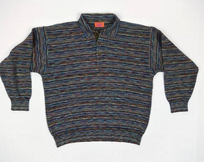 MISSONI EXAMPLE vintage 80s men's multicolor wool collared sweater