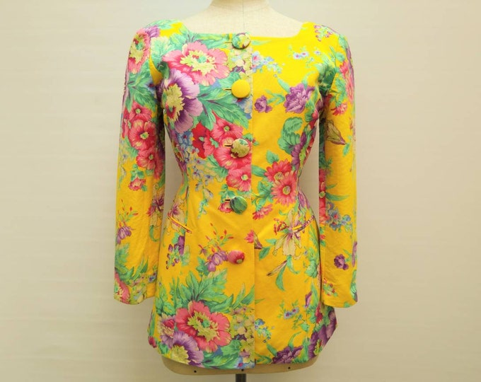GEORGES RECH vintage 90s yellow bold floral cotton summer jacket