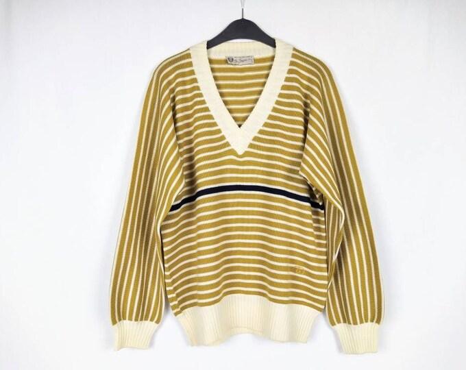 GUCCI 70s vintage men's mustard striped wool sweater