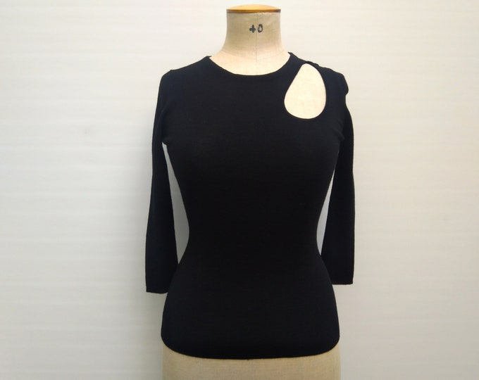 CHRISTIAN DIOR pre-owned black cashmere and silk knit cutout sweater