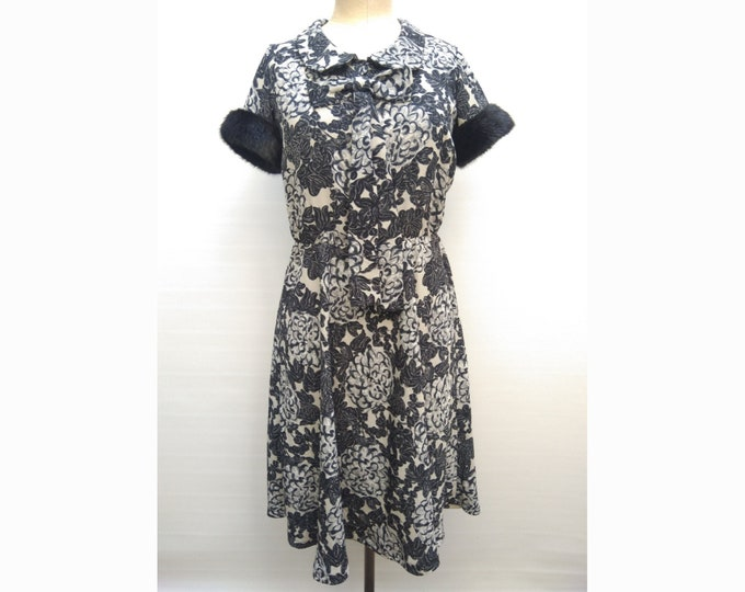 TWIN-SET Simona Barbieri pre-owned grey and black floral dress with faux fur trim