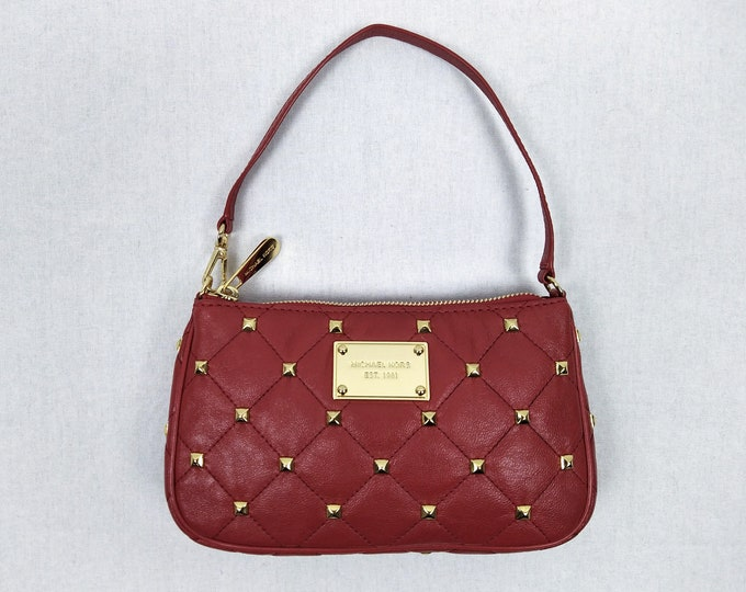 MICHAEL KORS pre-owned studded quilted red leather mini bag