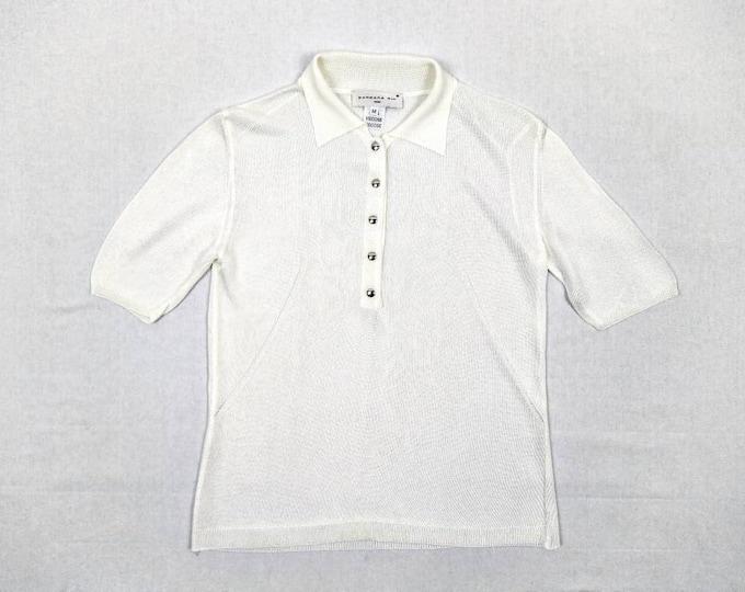 BARBARA BUI vintage white viscose knit polo shirt