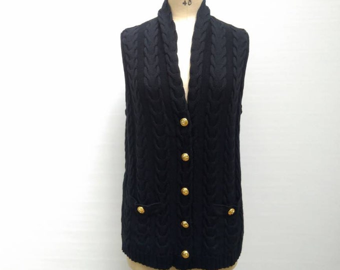 ESCADA MARGARETHA LEY vintage 80s black wool cable knit sweater vest