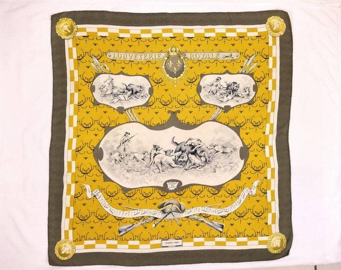 HERMES LOUVETERIE ROYALE vintage 60s jacquard silk carre scarf 90 cm