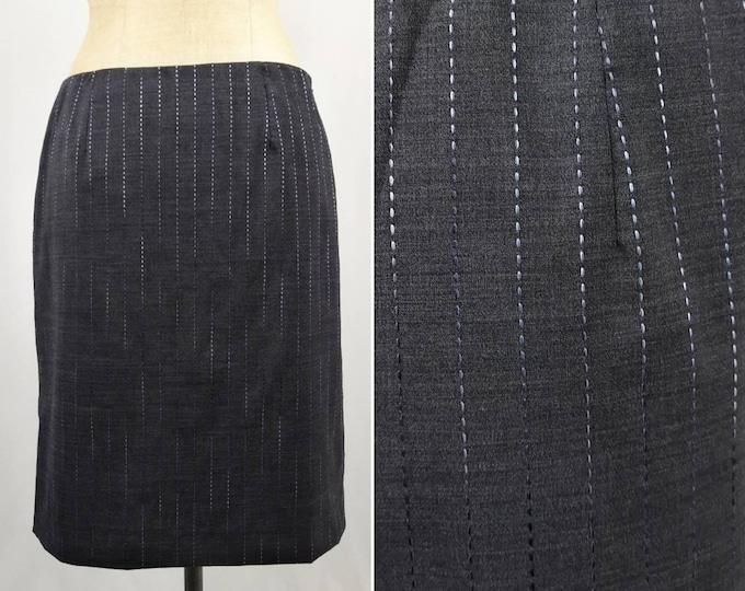 MOSCHINO CHEAP and CHIC vintage 90s anthracite wool pencil skirt with ombre stitching