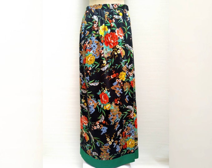 LANVIN vintage 70s numbered boutique floral cotton maxi skirt