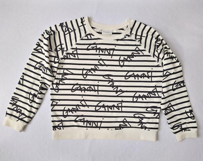 GANNI pre-owned cream/black striped graffiti print jersey top