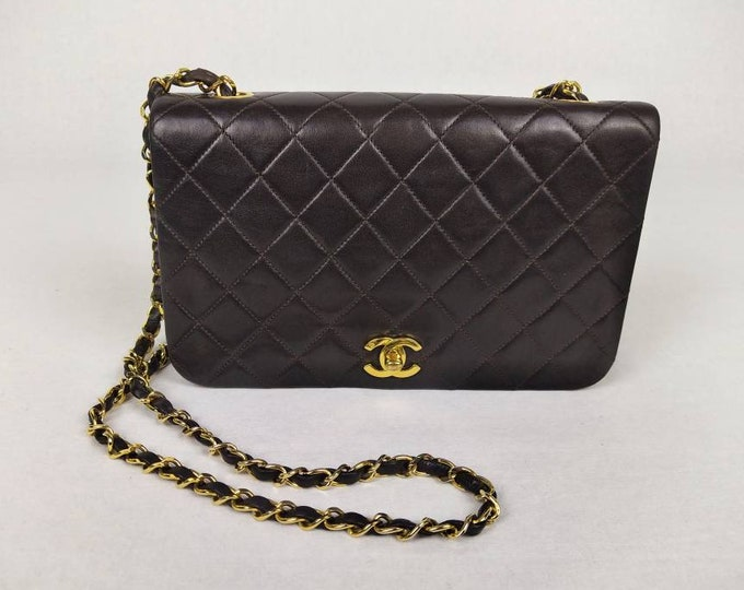 CHANEL vintage classic brown quilted lambskin full flap bag