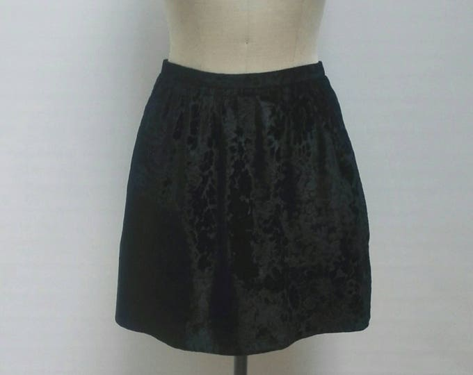 KENZO JUNGLE vintage 80s black floral textured velvet skirt