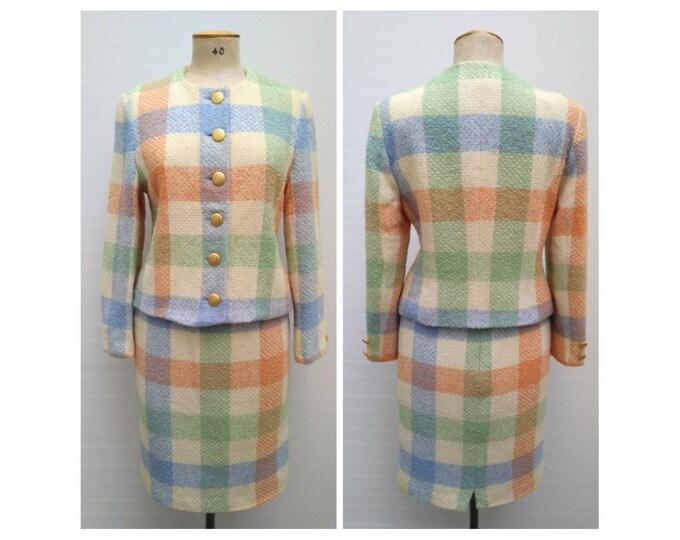 GERARD PASQUIER vintage 90s pastel plaid wool boucle skirt suit