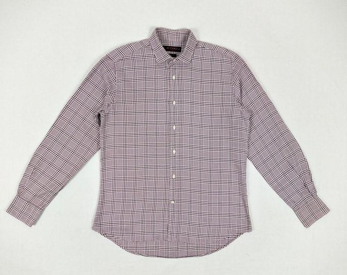 ETRO pre-owned men's burgundy white glen check dress shirt