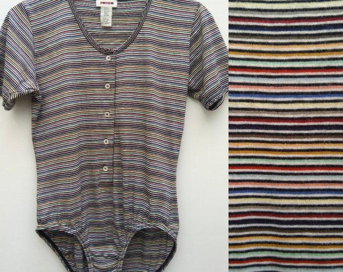 RODIER vintage multicolor striped cotton bodysuit