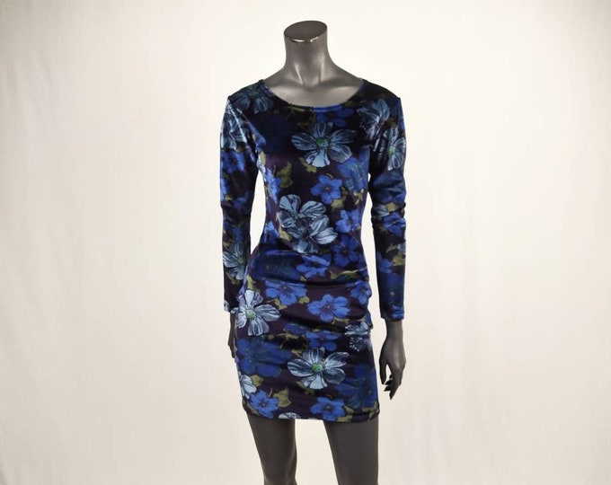 CACHAREL vintage 90s blue floral stretch velvet dress
