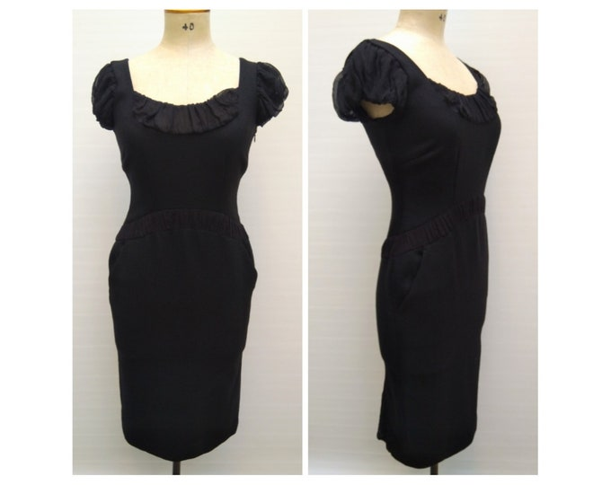 SPORTMAX pre-owned black wool and silk wiggle cocktail dress