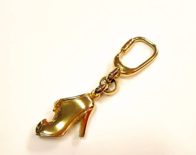 SALVATORE FERRAGAMO vintage gold tone shoe shaped keychain or bag charm