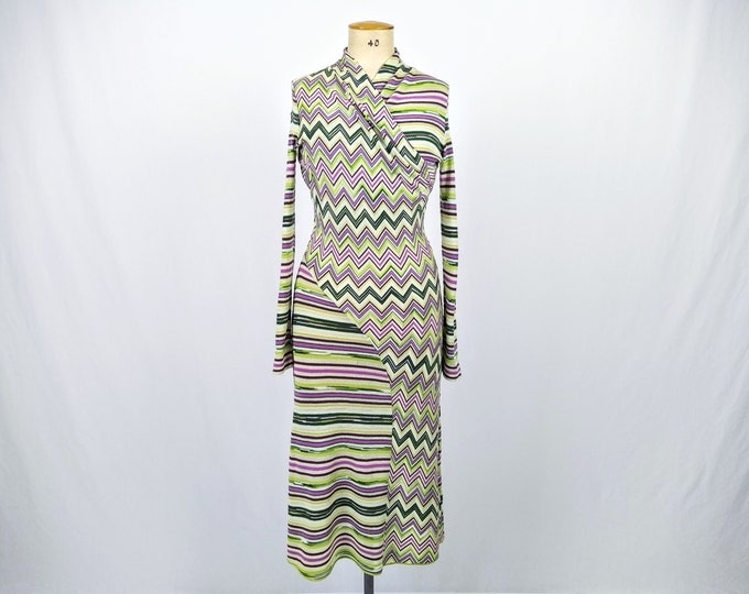 MISSONI pre-owned green and orchid chevron striped knit long dress