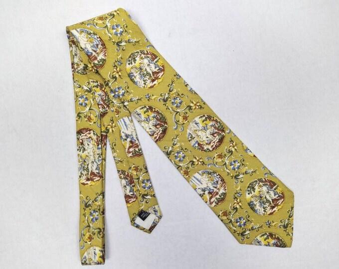 DOLCE & GABBANA 90s vintage renaissance scenes silk tie