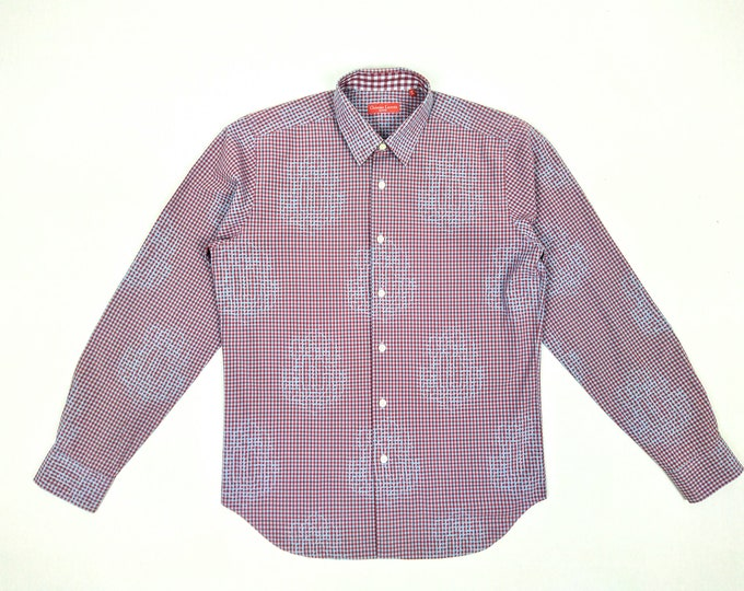 CHRISTIAN LACROIX HOMME pre-owned patterned gingham check cotton shirt