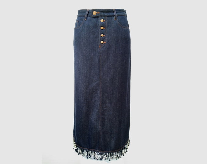 GAULTIER JEAN'S pre-owned maxi denim skirt with fringes