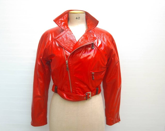 GIANNI VERSACE vintage 80s fire engine red patent leather biker jacket