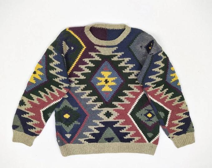 80s vintage handknit men's aztec / navajo wool sweater
