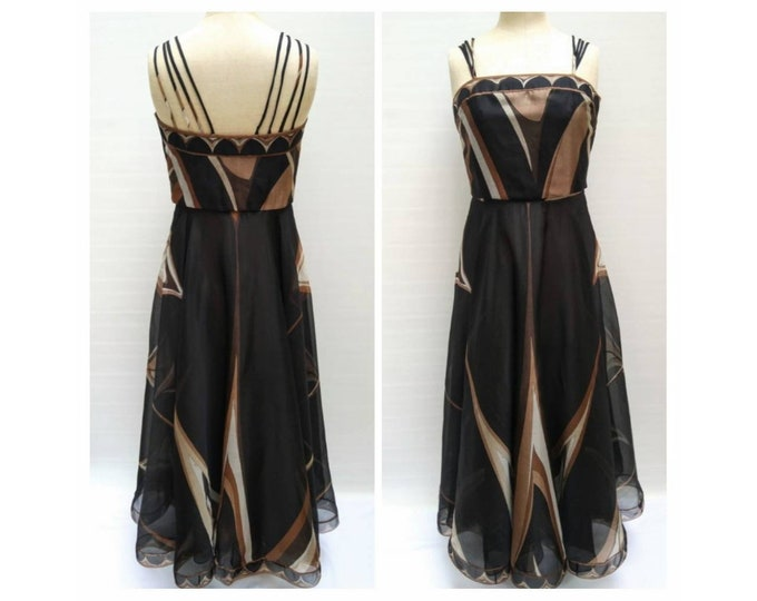 EMILIO PUCCI vintage 70s signature print boned silk organza evening gown