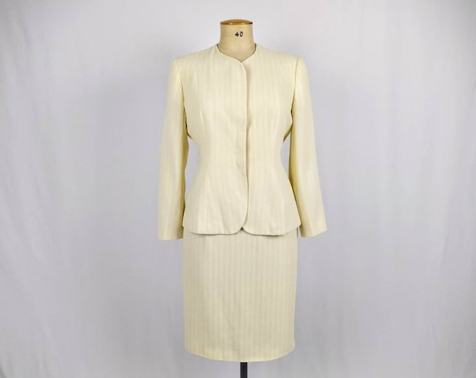 MANI by ARMANI vintage 80s butter yellow skirt suit
