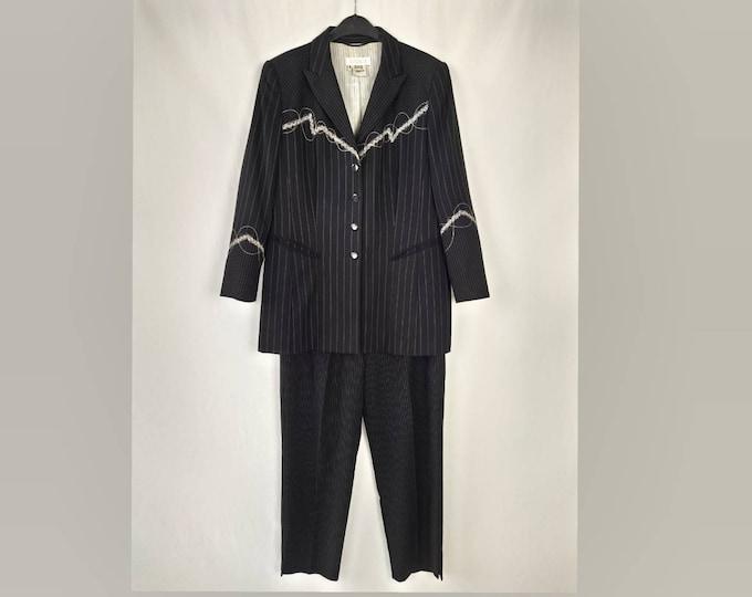 ESCADA MARGARETHA LEY vintage 90s embroidered black pinstripe suit  plus size