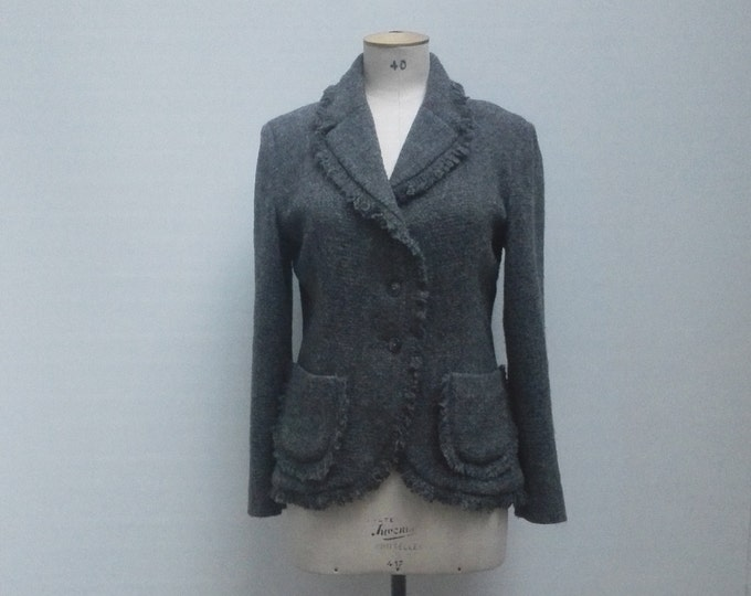 CAVALLI JEANS pre-owned freyed grey wool jacket blazer