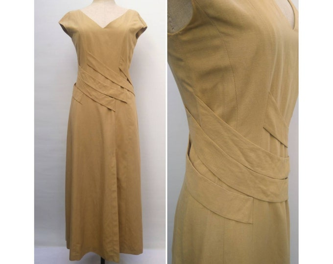 PACO RABANNE vintage 80s tan long summer dress