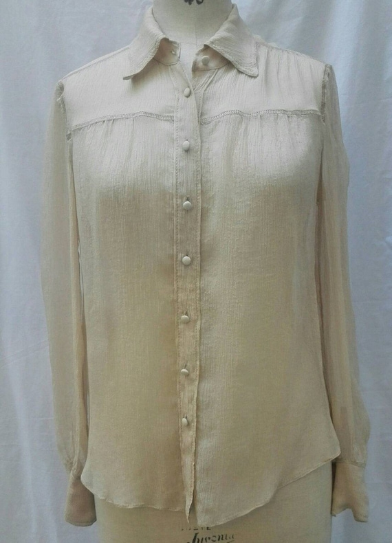 MIU MIU vintage 90s nude sheer silk crepe blouse