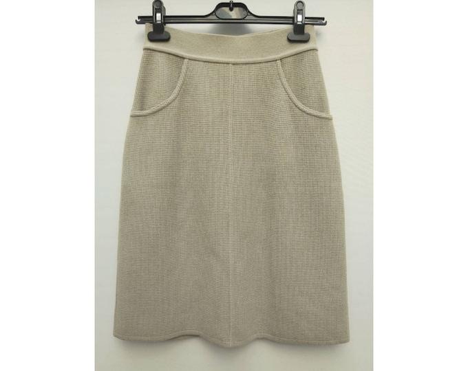 SONIA RYKIEL vintage 90s sandy grey waffle knit wool skirt