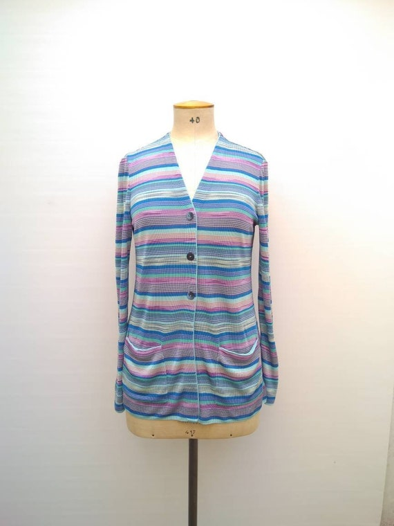MISSONI vintage 90s blue, turquoise and lilac stri