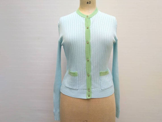 CHANEL vintage 90s pale blue and green cotton rib