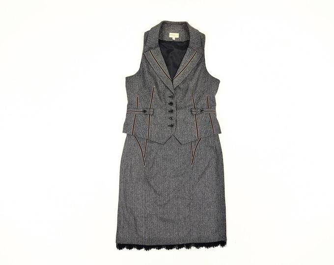 KAREN MILLEN pre-owned wool tweed skirt and waistcoat ensemble