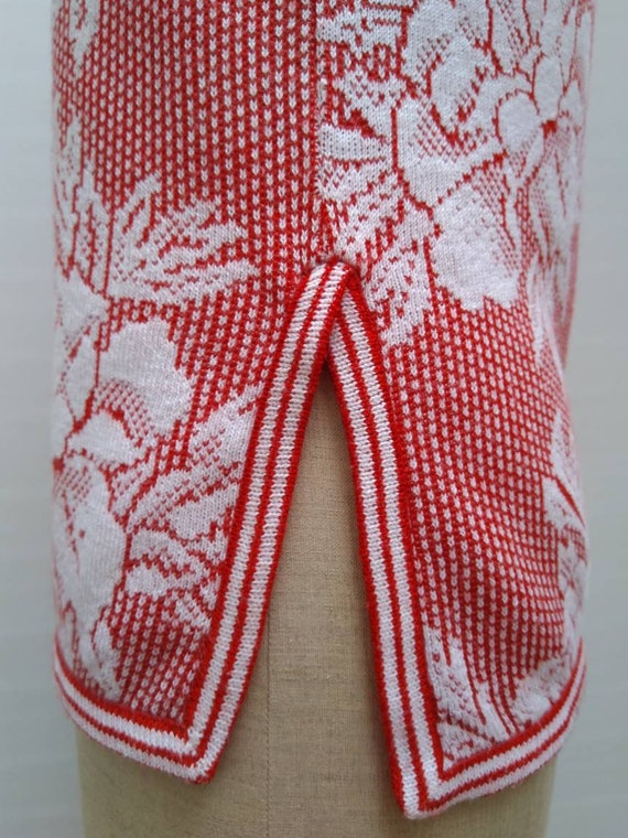 KENZO 70s vintage red and white floral knit sleev… - image 6