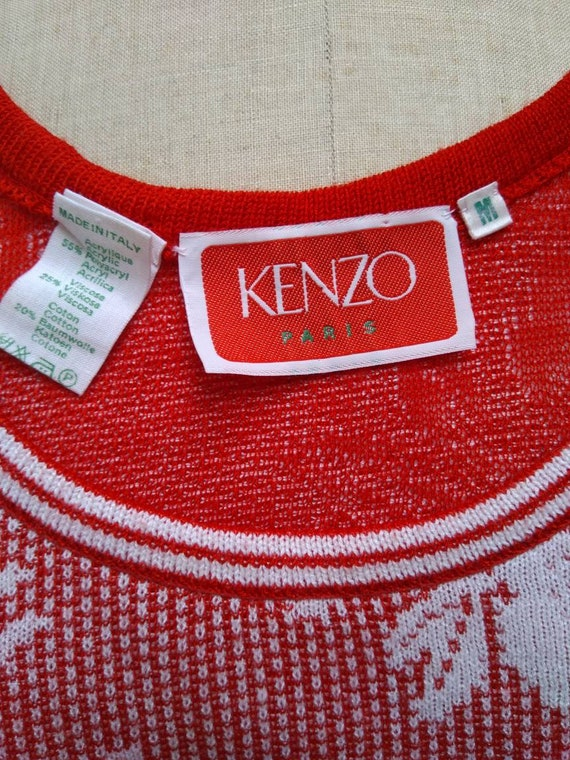 KENZO 70s vintage red and white floral knit sleev… - image 8