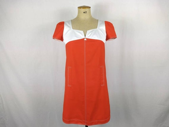 COURREGES vintage 90s orange red and white cotton