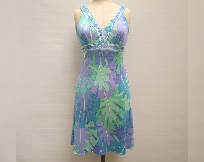 EMILIO PUCCI vintage 90s blue green lilac leaf print silk jersey dress