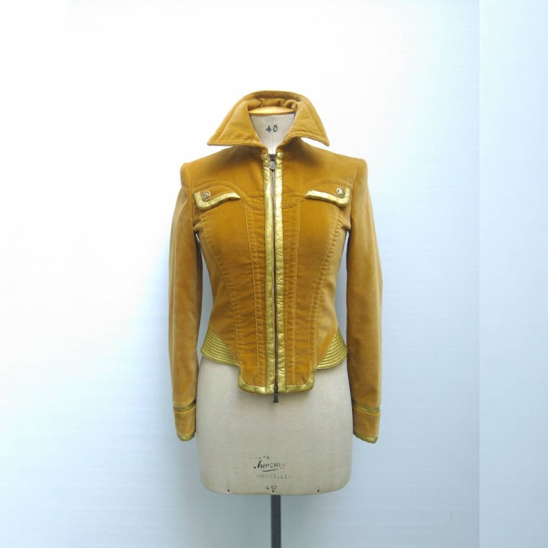 1c73d6a2 VERSACE JEANS COUTURE vintage 90s mustard yellow and gold padded velvet  jacket