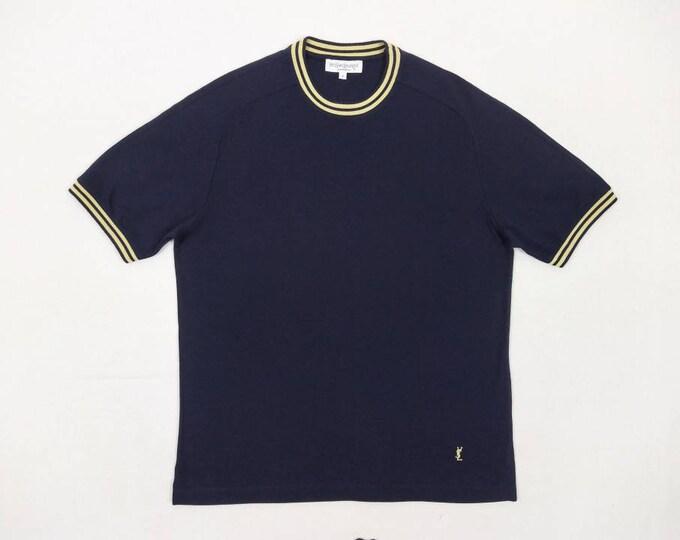 YVES SAINT LAURENT vintage men's navy pique t-shirt